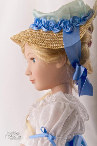 Chemise a la Reine and Soft Crown Bergère Hat for AGAT Dolls