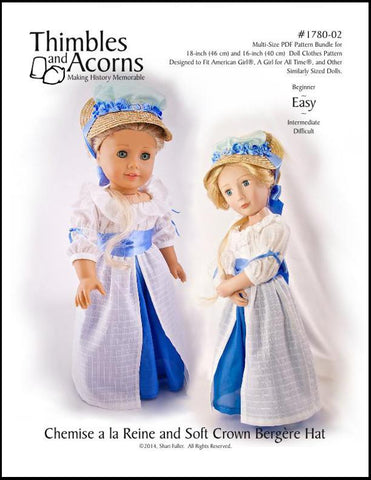 "Chemise a la Reine and Soft Crown Bergère Hat Bundle 16"" and 18"" Doll Clothes"