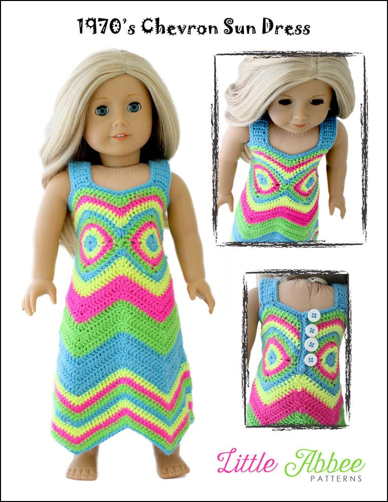 Little Abbee 1970\'s Chevron Sun Dress Doll Clothes Pattern 18 inch ...