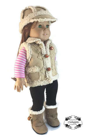"Chilly Morning Vest, Hat and Boot Bundle 18"" Doll Clothes Pattern"