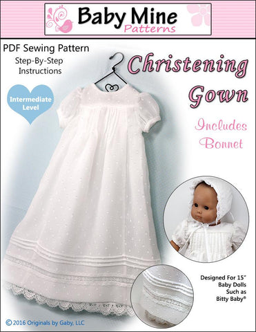"Baby Mine Bitty Baby/Twin Christening Gown 15"" Baby Doll Clothes Pattern Pixie Faire"