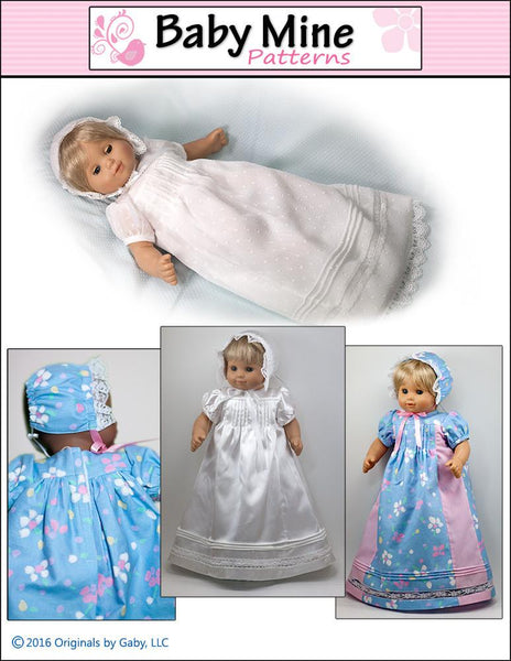 Baby Mine Christening Gown Doll Clothes Pattern 15 Inch