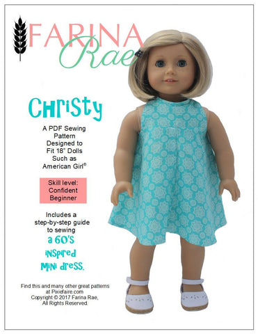 "Christy Dress 18"" Doll Clothes Pattern"