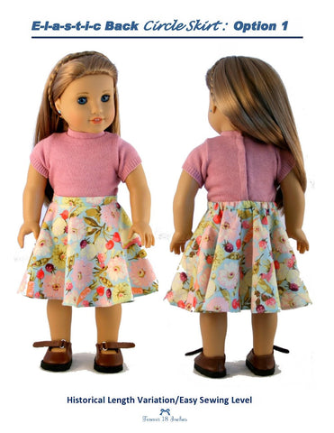 "Elastic-Back Circle Skirt 18"" Doll Clothes"