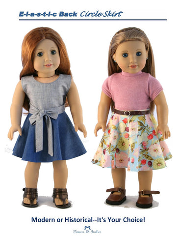 "Elastic-Back Circle Skirt 18"" Doll Clothes Pattern"