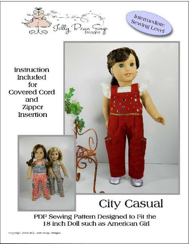 "Jelly Bean Soup Designs 18 Inch Modern City Casual Jumpsuit 18"" Doll Clothes Pattern Pixie Faire"