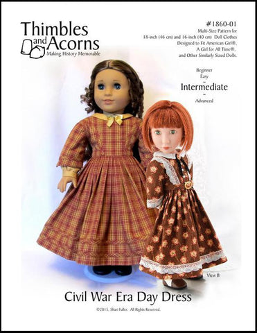 "1860 Civil War Era Dress 16"" and 18"" Doll Clothes Pattern"