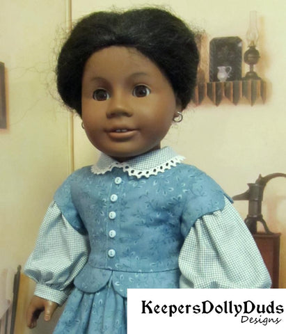 Keepers Dolly Duds civil war dress PDF doll clothes sewing pattern designed to fit 18 inch American Girl dolls