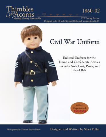 pdf doll clothes sewing pattern thimbles and acorns civil war uniform designed to fit 18 inch american girl boy dolls