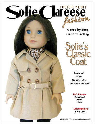 "Sofie's Classic Coat 18"" Doll Clothes Pattern"