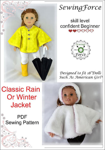 "Sewing Force 18 Inch Modern Classic Rain or Winter Jacket 18"" Doll Clothes Pattern Pixie Faire"