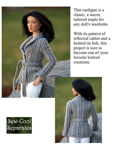 Classy Cardigan Knitting Pattern for Ellowyne and Tyler Wentworth Dolls