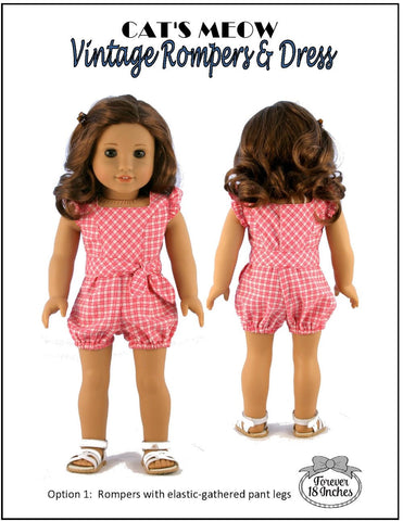 "Cat's Meow Vintage Rompers & Dress 18"" Doll Clothes"