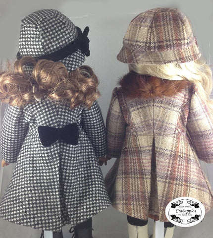 "Classic Coat and Hat 18"" Doll Clothes Pattern"