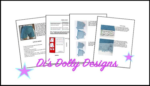 "Seaside Crop Pants and Shorts 18"" Doll Clothes Pattern"