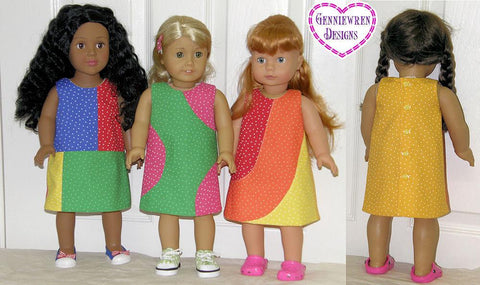 "A-Line Color Blocked Dresses 18"" Doll Clothes Pattern"