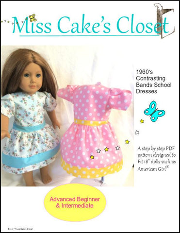 "1960's Contrasting Bands School Dress 18"" Doll Clothes Pattern"