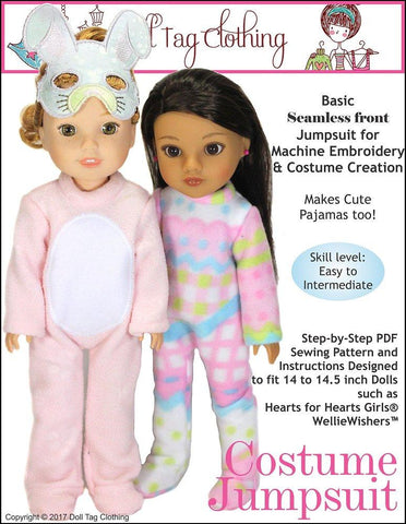 Costume Jumpsuit Pattern for 14 to 14.5 Inch Dolls