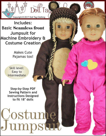 "Doll Tag Clothing 18 Inch Modern Costume Jumpsuit 18"" Doll Clothes Pattern Pixie Faire"