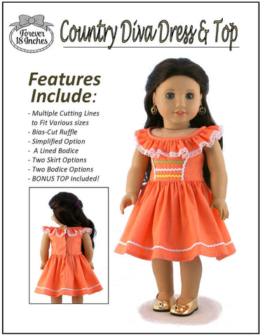 "Country Diva Dress & Top 18"" Doll Clothes Pattern"
