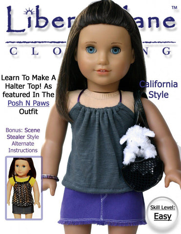 "Liberty Jane 18 Inch Modern Malibu Halter Top 18"" Doll Clothes Pattern Pixie Faire"
