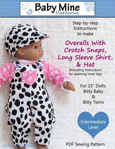 "Overalls Bundle 15"" Doll Clothes Pattern"