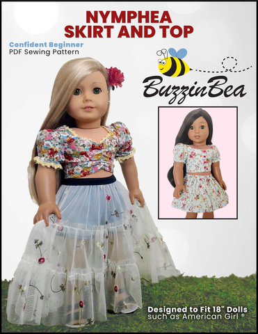 "Nymphea Skirt & Top Set 18"" Doll Clothes Pattern"