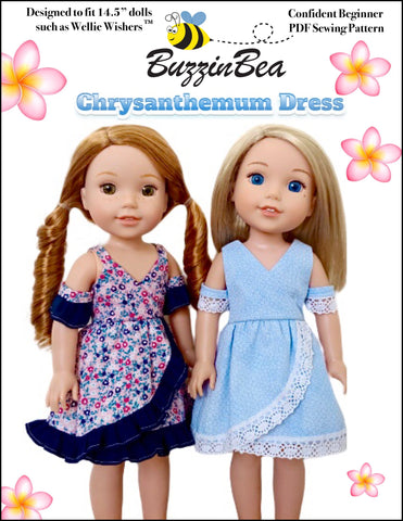 "Chrysanthemum Dress 14.5"" Doll Clothes Pattern"