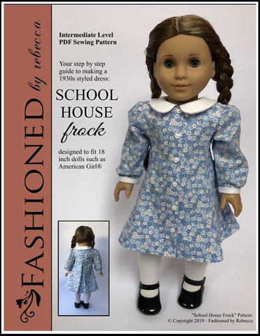 "School House Frock 18"" Doll Clothes Pattern"