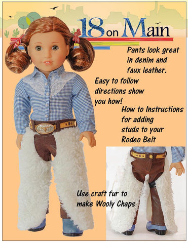 "Cowgirl Ranch Chaps 18"" Doll Clothes Pattern"