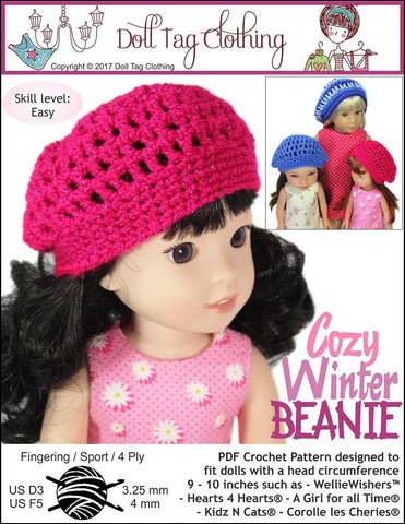 Doll Tag Clothing WellieWishers FREE Cozy Winter Beanie Crochet Pattern for 13 to 16 inch Dolls Pixie Faire