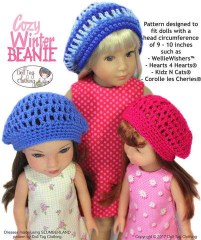 FREE Cozy Winter Beanie Crochet Pattern for 13 to 16 inch Dolls