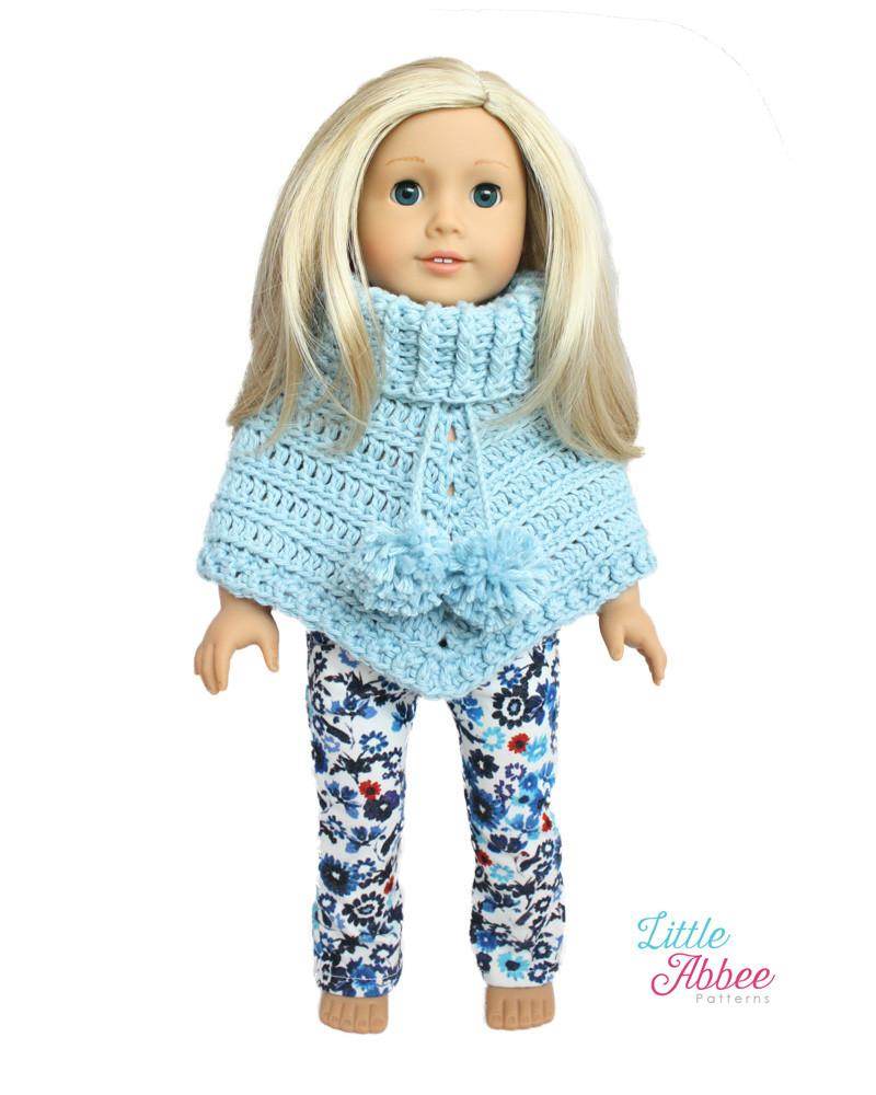 Little Abbee Chunky Poncho Doll Clothes Crochet Pattern 18 Inch