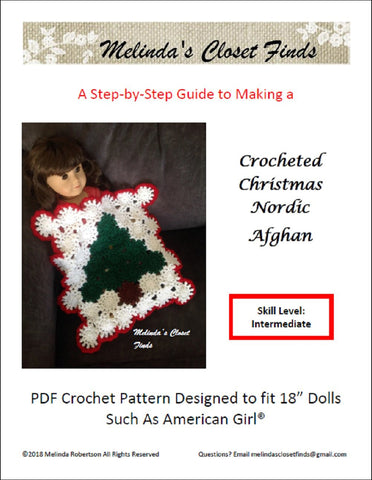 melinda's closet find christmas crocheted nordic afgham pdf crochet pattern designed to fit 18 inch American Girl dolls