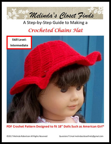 "Crocheted Chains Hat 18"" Doll Crochet Pattern"