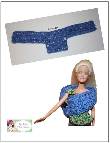 "Spring Crossover Wrap for 11 1/2"" Fashion Dolls Crochet Pattern"