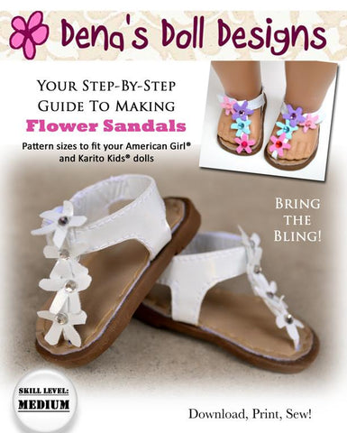 "Flower Sandals 18"" Doll Shoe Pattern"
