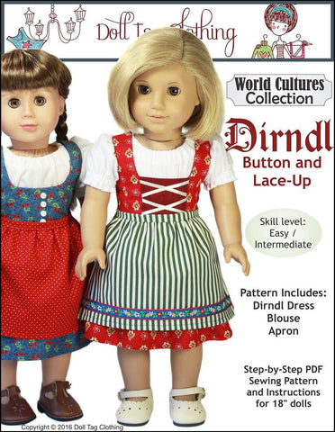"Doll Tag Clothing 18 Inch Historical Dirndl 18"" Doll Clothes Pattern Pixie Faire"