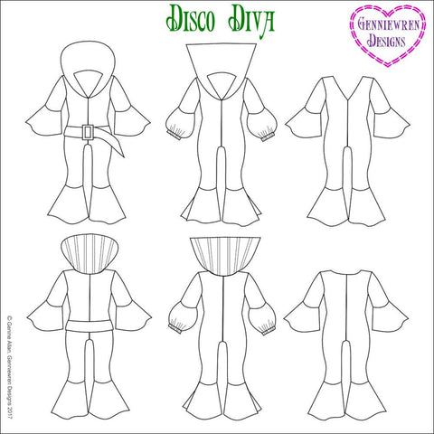 "Disco Diva 18"" Doll Clothes Pattern"