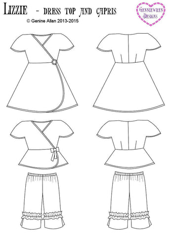 Lizzie - Dress, Top and Capri Pants Pattern for Disney Animator Dolls