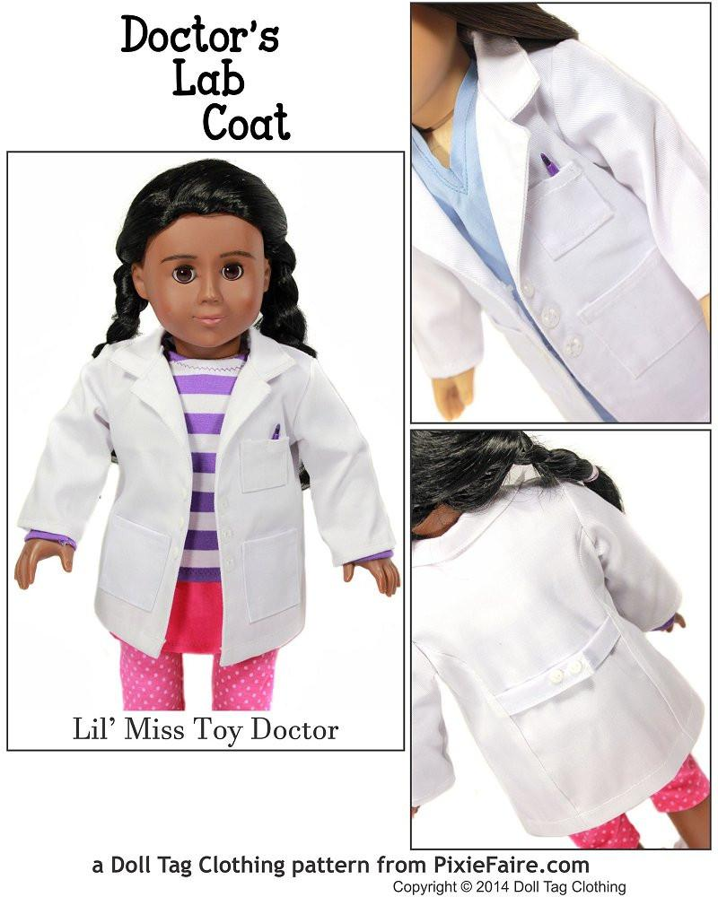Doll tag clothing doctors lab coat 18 inch doll clothes pattern doctors lab coat 18 doll clothes jeuxipadfo Gallery
