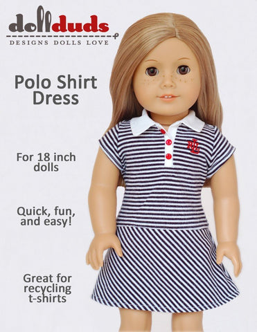 "Polo Shirt Dress 18"" Doll Clothes Pattern"