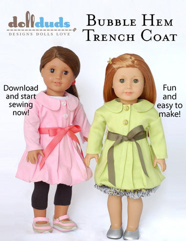 Bubble Hem Trench Coat 18 inch Doll clothes pattern