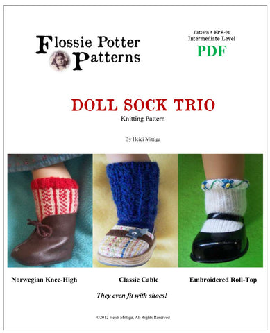 Flossie Potter 18 Inch Modern Doll Sock Trio Knitting Pattern Pixie Faire