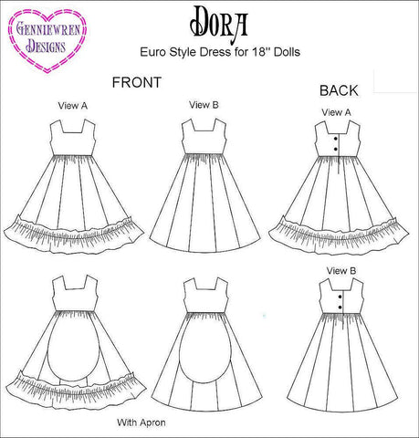 "Dora Dress 18"" Doll Clothes Pattern"