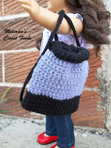 "Crocheted Drawstring Backpack 18"" Doll Crochet Pattern"