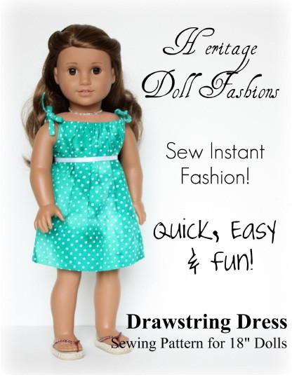 FREE 18 inch doll clothes pattern Drawstring Dress | Heritage Doll ...