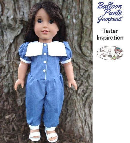 "Balloon Pants Jumpsuit 18"" Doll Clothes Pattern"