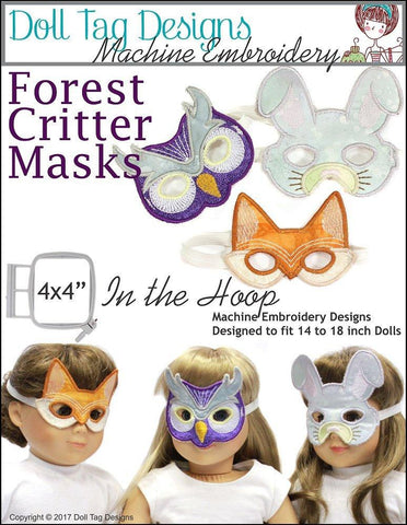 Doll Tag Clothing Machine Embroidery Design Forest Critter Masks Machine Embroidery Designs Pixie Faire
