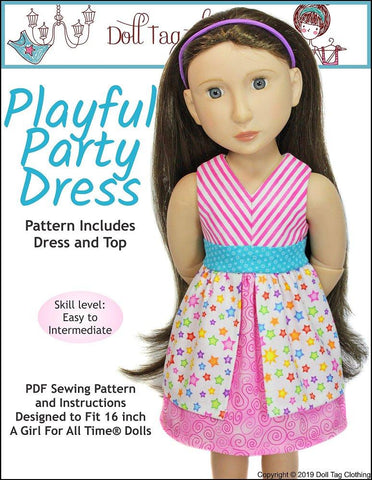 Doll Tag Clothing A Girl For All Time Playful Party Dress Pattern for A Girl For All Time Dolls Pixie Faire
